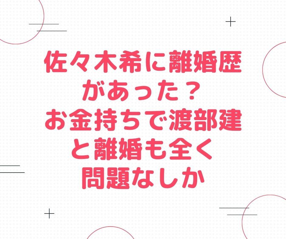 佐々木希 離婚歴 お金持ち